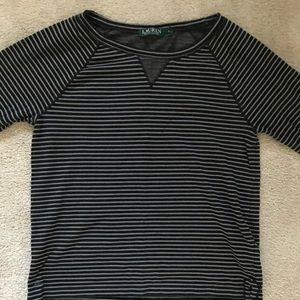 Ralph Lauren Gray and Navy Blue Striped Pullover